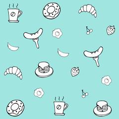 Hand Drawing Breakfast Doodle background illustrator vector design.