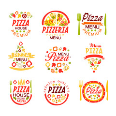 Pizza house, pizzeria premium menu logo templates set of colorful vector Illustrations