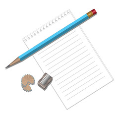 Detached leaves of the Notepad, pencil, sharpener.