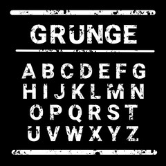 Alphabet Grunge Letters Collection Text Lettering Set Vector Illustration