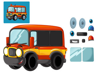 Cartoon happy and funny cartoon fire fireman bus looking and smiling - isolated illustration for children with exercise / cutting out and joining together