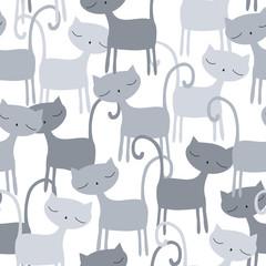 seamless grey cat pattern vector illustration