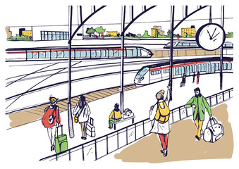 General view of railway platform with trains and passengers. Horizontal colorful hand drawn vector sketch illustration.