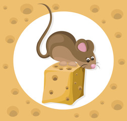 Funny cute mouse character on a cheese slice. Cartoon Vector illustration