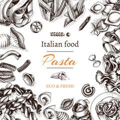 Vector illustration sketch - pasta. Card Italian food