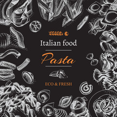 Vector illustration sketch - pasta. Card Italian food