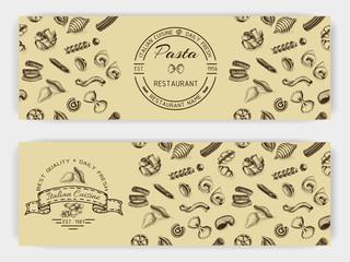 Vector illustration sketch - pasta. Banner Italian food.