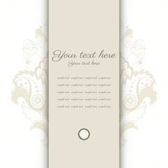 Vector card. Vintage damask pattern. Place for your text. Perfect for greetings, invitations or announcements.