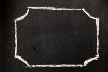 Chalk drawing as hexagon shape as blank stamp or seal on blackboard background