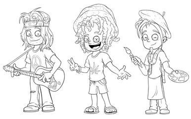 Cartoon hippie with guitar jamaican artist character vector set