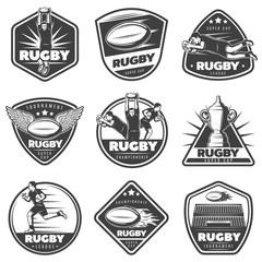 Vintage Monochrome Rugby Labels Set