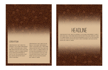 Brochure layout template flyer design. Vector background made in coffee beans