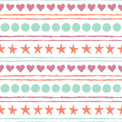 Seamless pattern. Colored hand drawn stars, circles, hearts and strips isolated on a white background.