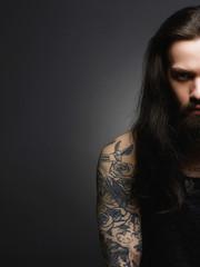 half face of bearded man