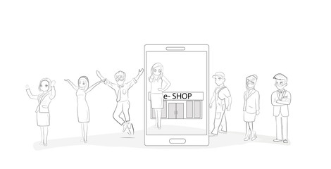 People buy in the e-shop. The concept of shopping on the Internet. vector illustration.