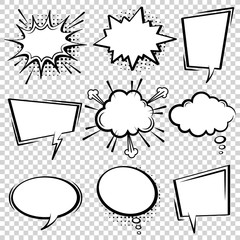 Fotobehang Pop Art Comic speech bubble set. Empty cartoon black and white cloud pop art expression speech boxes. Comics book vector background template with halftone dots.