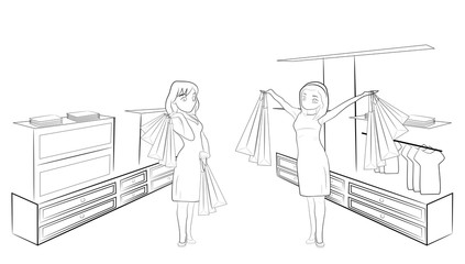 The woman in the store is pleased with the discounts. vector illustration.