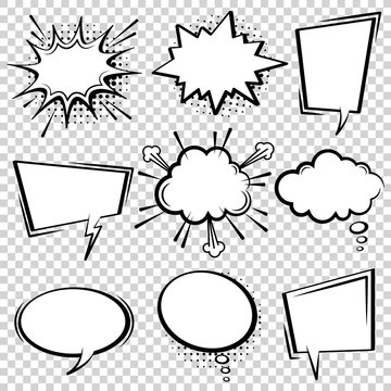 Comic speech bubble set. Empty cartoon black and white cloud pop art expression speech boxes. Comics book vector background template with halftone dots.