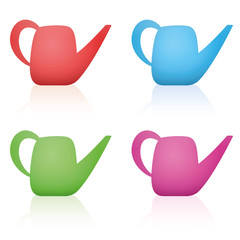 Watering cans - colorful set made of red, blue, green and pink plastic. Isolated vector illustration on white background.