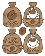 Vector set of four labels for coffee in the form of a bag with coffee grain and cup of coffee.