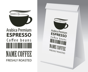 Paper packaging with label for coffee bean. Vector label for coffee with cup, bar code and text and paper 3d package with this label.