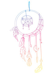 Vector illustration of a dream catcher with feathers. Indian totem with feathers. Hippie decoration. Drawing by hand. Linear Art. Tattoo.