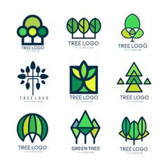 Tree logo original design set of vector Illustrations in green colors