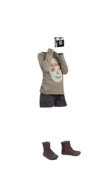 Empty clothes. Child taking a picture. Shorts, boots and brown shirt.