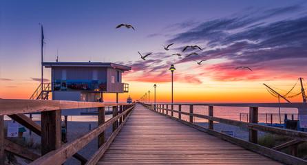 morgendliche Seebrücke an der Ostsee mit Möwen
