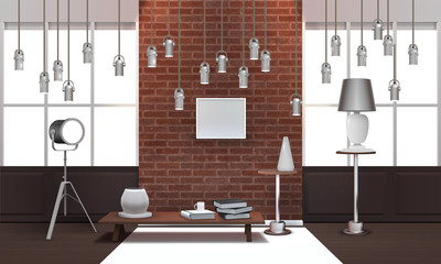 Realistic Loft Interior With Hanging Lamps