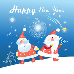 New Year greeting card with Santa Clauses