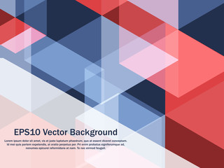 Patriotic red and blue abstract pattern background. Geometric creative concept vector background. Fototapete