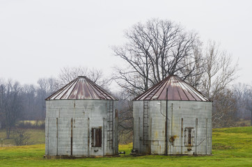 Grain Silos on a Winter Day