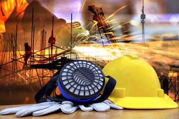 Double exposure of Standard construction safety and construction site background.