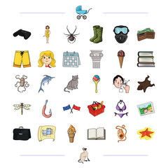 business, fishing, hiking and other web icon in cartoon style.vacation, travel, game icons in set collection.