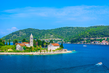 In de dag Eiland Vis island Croatia. / Aerial view on Vis island landscape, summertime in southern Croatia, Europe.