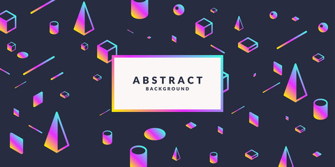 Trendy abstract art geometric background with flat, minimalistic Memphis style. Vector poster with elements.