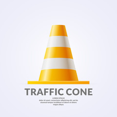 Realistic volumetric traffic cone isolated on light background.