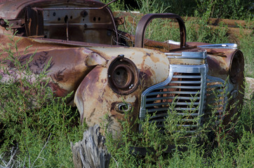 Rusted Out Car in a Field