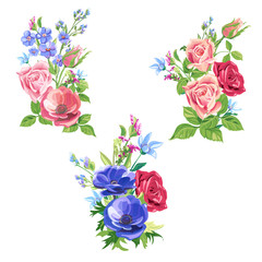 Collection bouquets of roses, poppy, forget-me-not; pink, red, blue flowers and buds, green leaves on white background, digital draw, decorative illustration, vector