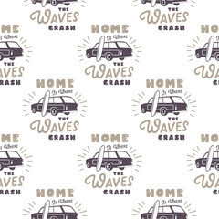 Surfing old style car pattern design. Summer seamless wallpaper with surfer van, surfboards, sunbursts. Monochrome combi car. Vector illustration. Use for fabric printing, web projects, t-shirts.