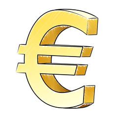 Handgezeichnetes 3D-Eurosymbol / schraffiert, Vektor, freigestellt