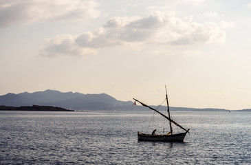 Sailing boat on the Mediterranean sea