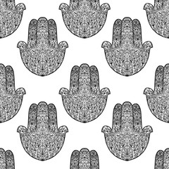 Hamsa pattern. Fatimas hand seamless background. Vector illustration. Indian mandala ornament. Asian pattern. Black and white authentic backdrop.