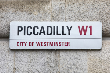 Piccadilly Street Sign in London