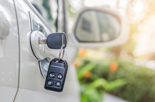 Car keys left in a lock