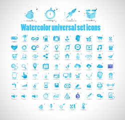 Watercolor universal set icons on white background vector illustration.