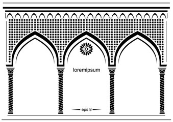 Silhouette of the arched eastern facade