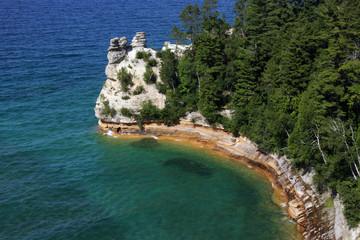 Die Felsen von Miners Castle mit Blick auf den Lake Superior