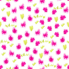 Hand drawned seamless watercolor pattern. Abstract watercolor flowers and grass in pink and green. Seamless pattern with watercolor purple flowers.